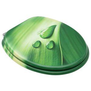 vidaXL WC sedadlo s poklopom MDF dizajn zelený dizajn s kvapkou