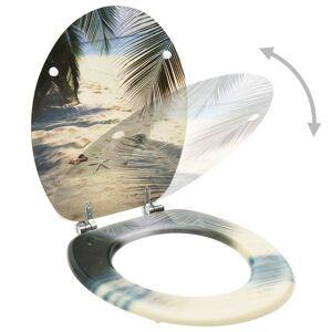 vidaXL WC sedadlo s vrchnákom MDF dizajn s plážou