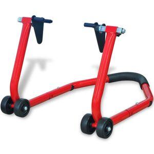 vidaXL Predný stojan na motocykel, červený