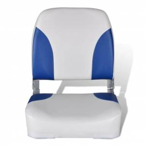 vidaXL Lodné sedadlá 2 ks sklopné operadlo s modro-bielym vankúšom 41x36x48 cm