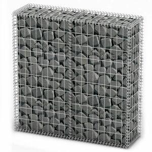 vidaXL Gabiónový kôš s vekom, pozinkovaný drôt 100x100x30 cm