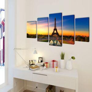 vidaXL Sada obrazov na stenu, motív Eiffelova veža 200 x 100 cm