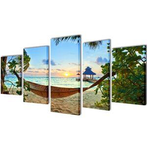 vidaXL Sada obrazov na stenu, motív Piesočnatá pláž s hojdacou sieťou 200x100