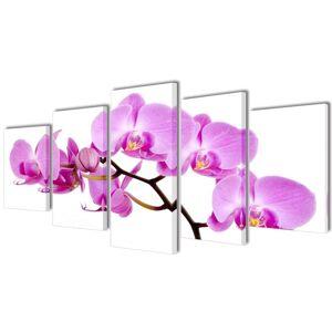 vidaXL Sada obrazov na stenu, motív Orchidea 100 x 50 cm
