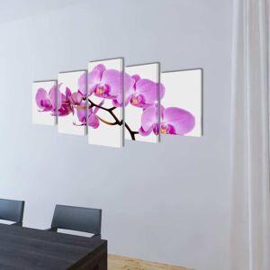vidaXL Sada obrazov na stenu, motív Orchidea 200 x 100 cm