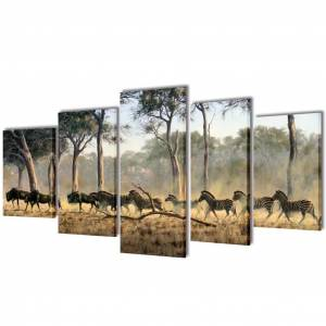 vidaXL Sada obrazov na stenu, motív Zebry 100 x 50 cm