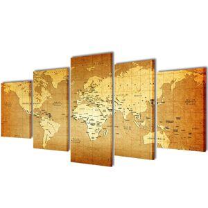 vidaXL Sada obrazov na stenu s potlačou mapy sveta 200 x 100 cm