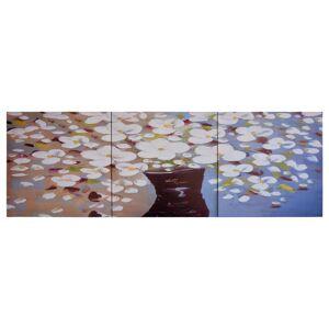 vidaXL Sada nástenných obrazov na plátne Kvety vo váze rôznofarebná 120x40 cm