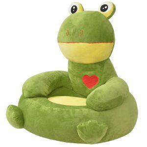 vidaXL Detské zelené plyšové kreslo, žaba