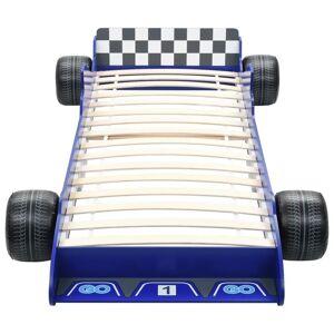 vidaXL Detská posteľ pretekárske auto 90x200 cm modrá