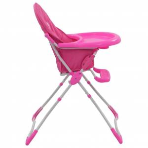 vidaXL Vysoká detská jedálenská stolička ružová a biela