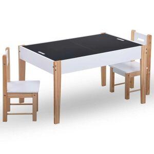 vidaXL 3-dielna sada detského úložného tabuľového stola a stoličiek čierno-biela