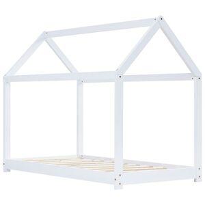 vidaXL Detský posteľný rám biely 80x160 cm borovicový masív