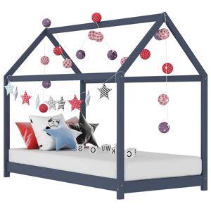 vidaXL Detský posteľný rám sivý 70x140 cm borovicový masív