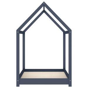 vidaXL Detský posteľný rám sivý 80x160 cm borovicový masív