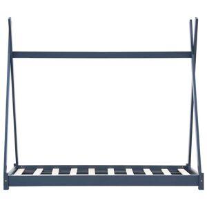 vidaXL Detský posteľný rám sivý borovicový masív 90x200 cm