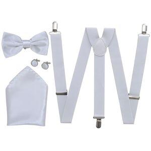 vidaXL Sada pánskych doplnkov do obleku/smokingu, traky & motýlik, biela