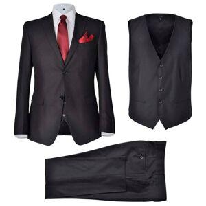 vidaXL Pánsky oblek Business s vestou, veľkosť 50, čierny