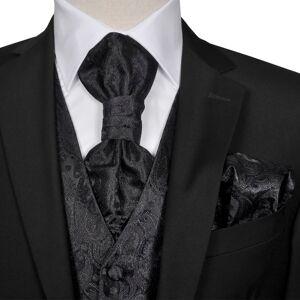 vidaXL Pánska čierna svadobná vesta s doplnkami, vzor paisley, veľkosť 48