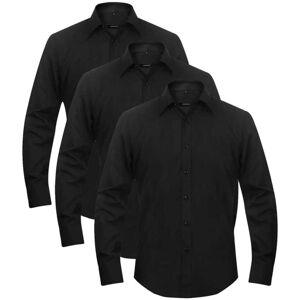 vidaXL Pánska business košeľa, 3 ks, veľkosť L, čierna
