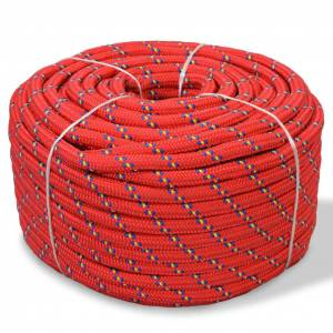 vidaXL Lodné lano, polypropylén, 6 mm, 100 m, červené