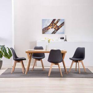 vidaXL Jedálenské stoličky 4 ks, tmavosivé, látka