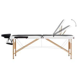vidaXL Skladací masážny stôl, 3 zóny, drevo, čierno biely