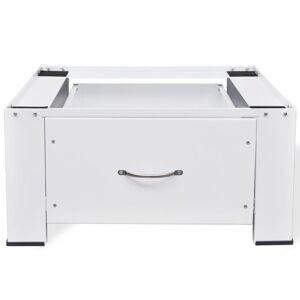 vidaXL Podstavec pod práčku so zásuvkou, biely