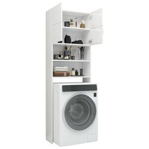 vidaXL Skrinka na práčku lesklá biela 64x25,5x190 cm drevotrieska