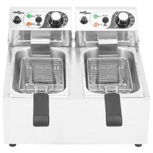 vidaXL Dvojitá elektrická fritéza, nehrdzavejúca oceľ, 12 l 4000 W