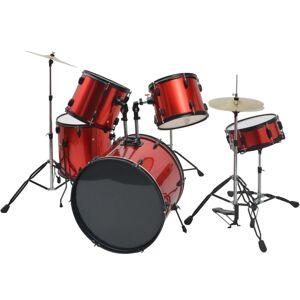 vidaXL Kompletná sada bicích nástrojov, oceľ s práškovým nástrekom, červená, pre dospelých