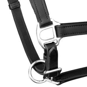 vidaXL Nastaviteľná uzda na koňa z pravej kože, čierna, full