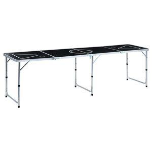 vidaXL Skladací stôl na beerpong 240 cm čierny