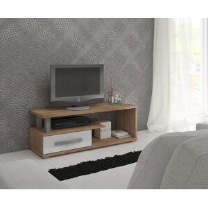 MEBLOCROSS Angel ANG-12 tv stolík sonoma svetlá / biely lesk