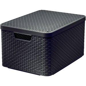 CURVER Plastový úložný STYLE BOX s víkem - L - hnědý CURVER