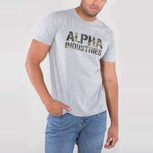 Alpha Pánske tričko Alpha Industries Camo Print Tee Grey - 2XL