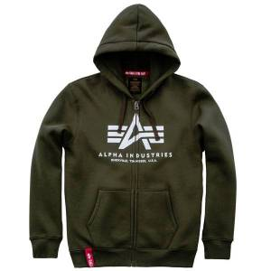 Alpha Pánska mikina Alpha Industries Basic Zip Hoody Dark Green - L