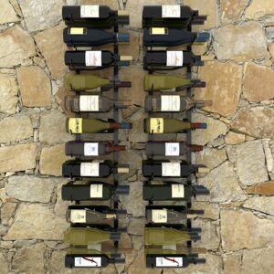 vidaXL Nástenný stojan na víno na 72 fliaš 2 ks čierna Dekorhome