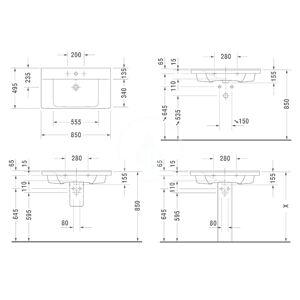 DURAVIT - P3 Comforts Umyvadlo 850x495 mm, se 3 otvory pro baterii, alpská bílá (2332850030)