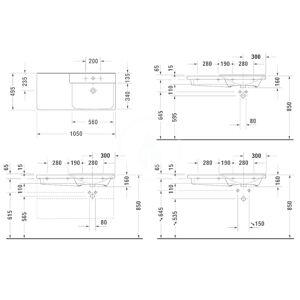 DURAVIT - P3 Comforts Umyvadlo asymetrické 1050x495 mm, se 3 otvory pro baterii vpravo, alpská bílá (2334100030)