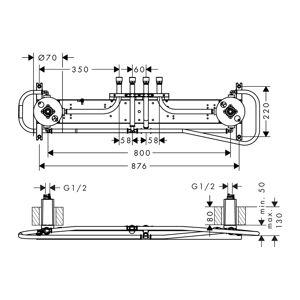 Axor - Základný podomietkový modul pre Shower Heaven 1200/300 4jet, 10922180