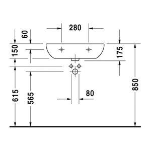 Duravit D-Code - Umývadlo Med, 1 otvor pre armatúru prepichnutý, 60 x 46 cm, biele 23116000002