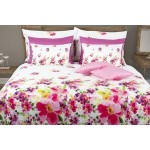 1 Glamonde Kvietkované obliečky Primavera ružová 2×70x90 cm 200x200 cm na zips