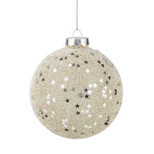 HANG ON Vianočné gule hviezdy 8 cm set 4 ks - strieborná