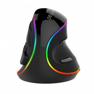 Delux Drôtová myš Delux M618, vertikálna, RGB, 6 tlačidiel, čierna