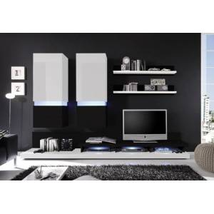 OKAY nábytok Obývacia stena Frisco (biela/čierna VL) - II. akosť