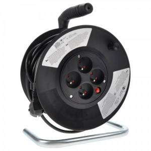 Solight Predlžovací kábel na bubne 4Z - 25 m čierna