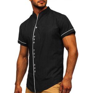 BOLF Čierna pánska košeľa s krátkymi rukávmi BOLF 5518