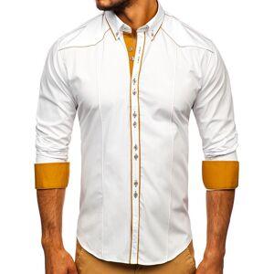 BOLF Biela pánska elegantná košeľa s dlhými rukávmi BOLF 4777