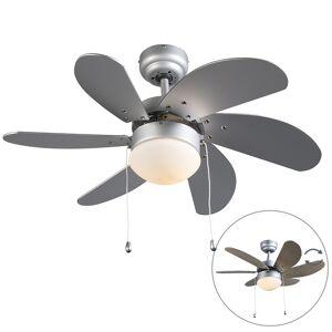 QAZQA Stropný ventilátor sivý - čerstvý 3